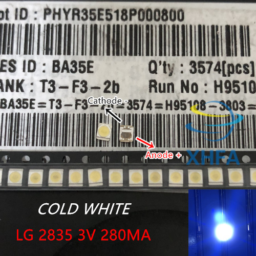 Diodes 100-200pcs Original For Lg Led Lcd Tv Backlight Lens Beads 1w 3v 3528 2835 Lamp Beads Cold Cool White Light