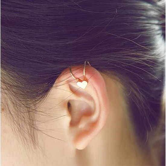 Nueva moda mujer lindo cristal cinco puntas amor corazón geometría redonda Cruz Luna aleación agujero oreja hueso clip 1 piezas