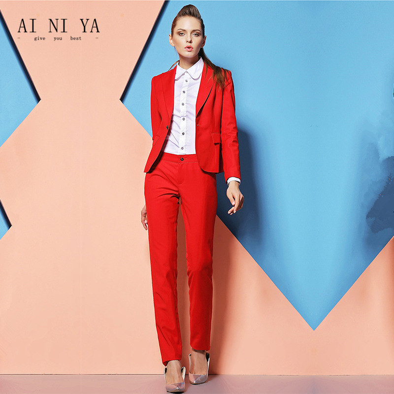 Suits & Sets Spring Autumn High Quality Pant Suits For Women Work Office Ladies Formal Business Wear Blue Pink Luxury Brand Blazer Pants Set