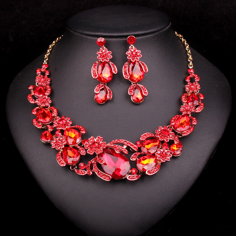 8 colors flowers bridal jewelry sets wedding necklace for Decor jewelry