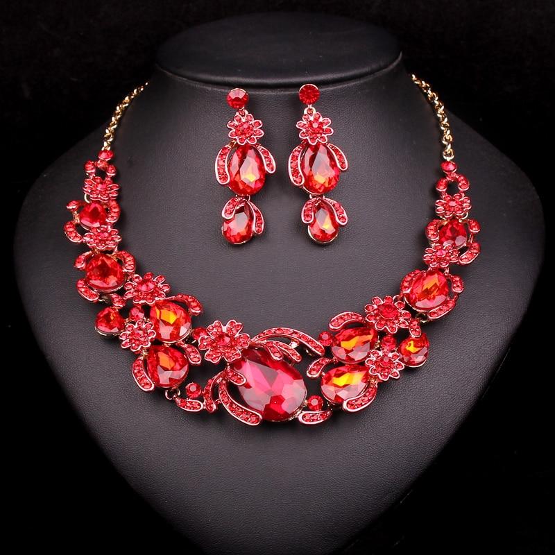 Fesyen Bunga Set Perhiasan Pengantin Kalung Perkahwinan Untuk - Perhiasan fesyen - Foto 2