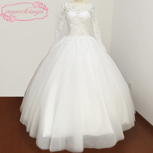superkimjo Floor Length Long Sleeve Ball Gown Wedding Dress