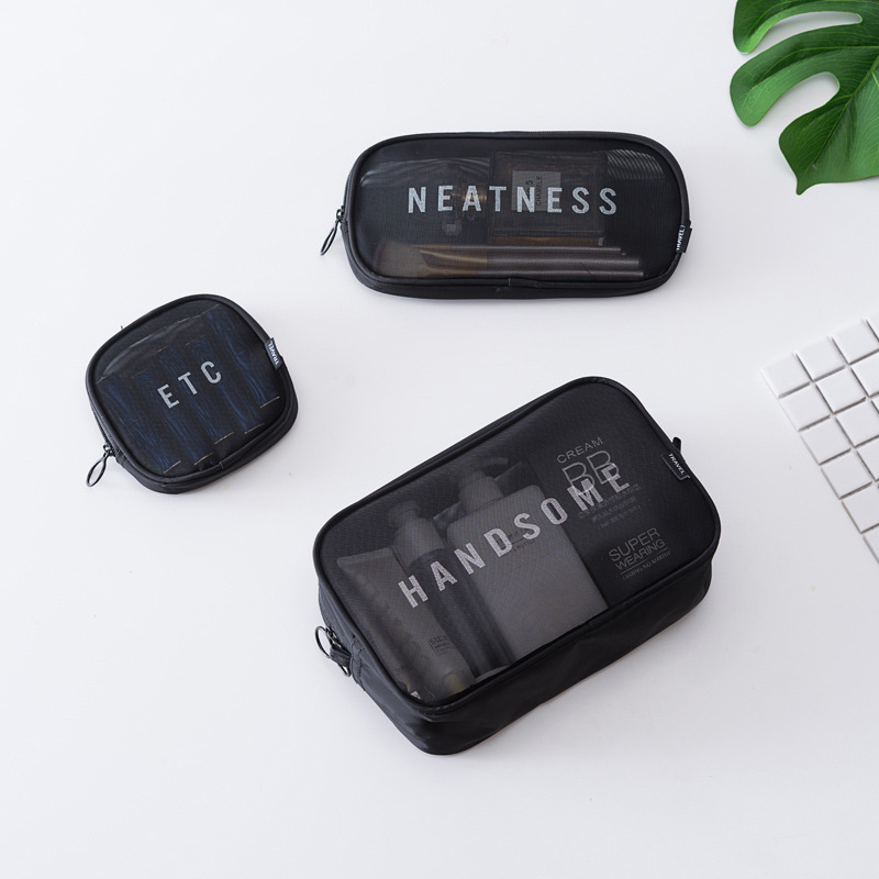 Fashion Women Travel Small Large Cosmetic Bag Set Makeup Mesh Toiletry Bags Men Wash Organizer Pouch Case Neceser Mujer 2019 image