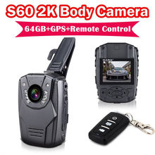 Free shipping!2K S60 Body Personal Security &Police Camera Night Vision Record 64GB+GPS+Remote Ambarella A7LA50