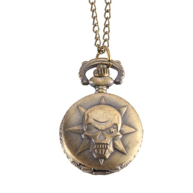 Vintage Pocket Watch Bronze Color Quartz Watch Cool Chain Skull Pattern Watches