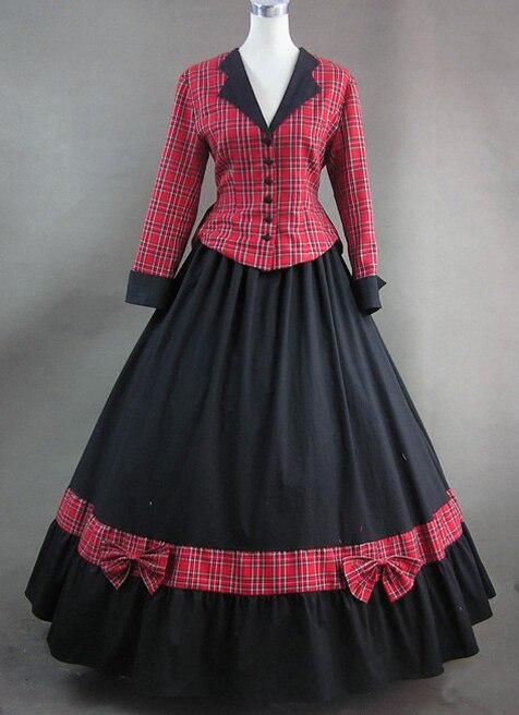 Robe victorienne à carreaux rouge à manches longues pour femmes