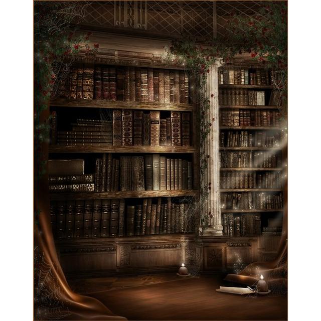 Old Castle Halloween Backdrop Photography Printed Moonlight Red Flowers Green Vines Stone Pillar Bookshelf Kids Photo