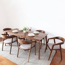 Скандинавское деревянное обеденное кресло американская старинная домашняя мебель кофейное ресторанное спальное повседневное простое кресло с подлокотником