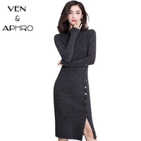 VA 2016 New Winter Sweater Dress Women Plus Size XXXL O Neck Long Sleeve Mid Calf