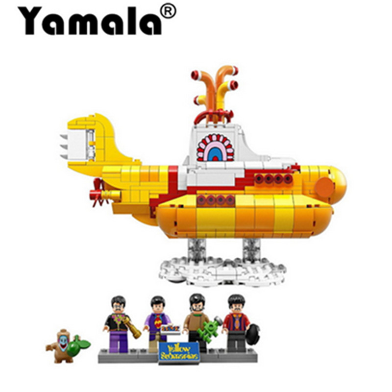 [Yamala] Compatiable with legoingly the Beatles 21012 John Lennon 21306 George Ideas Yellow Submarine Building Blocks Bricks lepin 21012 builder the beatles yellow submarine with 21306 building blocks bricks policeman toys children educational gift toys