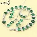 Новый Зеленый Создания Изумрудный Мода Серебряный Цвет Ювелирные Наборы Изящные Ожерелье Кольца Серьги Браслет Для Женщин Подарок