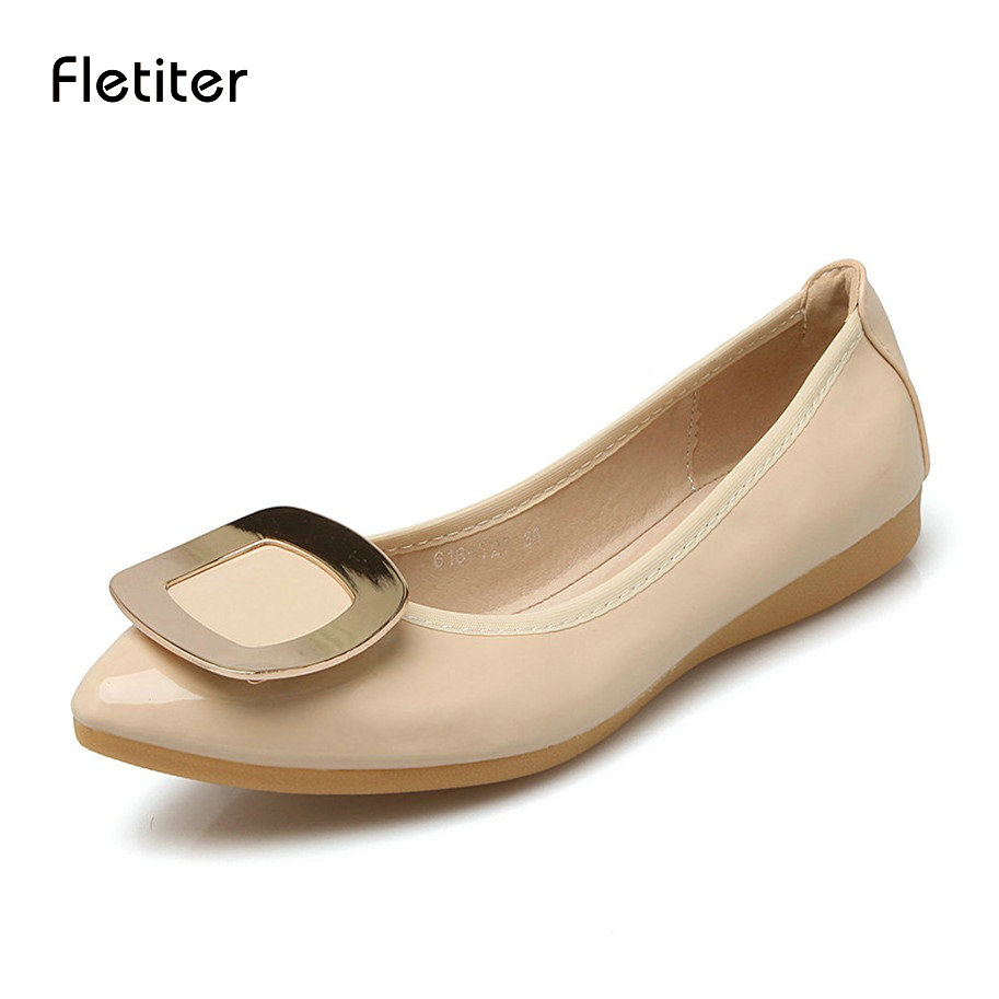 Women Ballet Flats Spring Autumn Brand Women Shoes Women Sneakers Female Casual Shoes Metal Pointed Toe Plus Big Size Fletiter large size 34 47 women s fashion shoes woman flats spring shoes female ballet shoes metal pointed toe solid casual shoes x2
