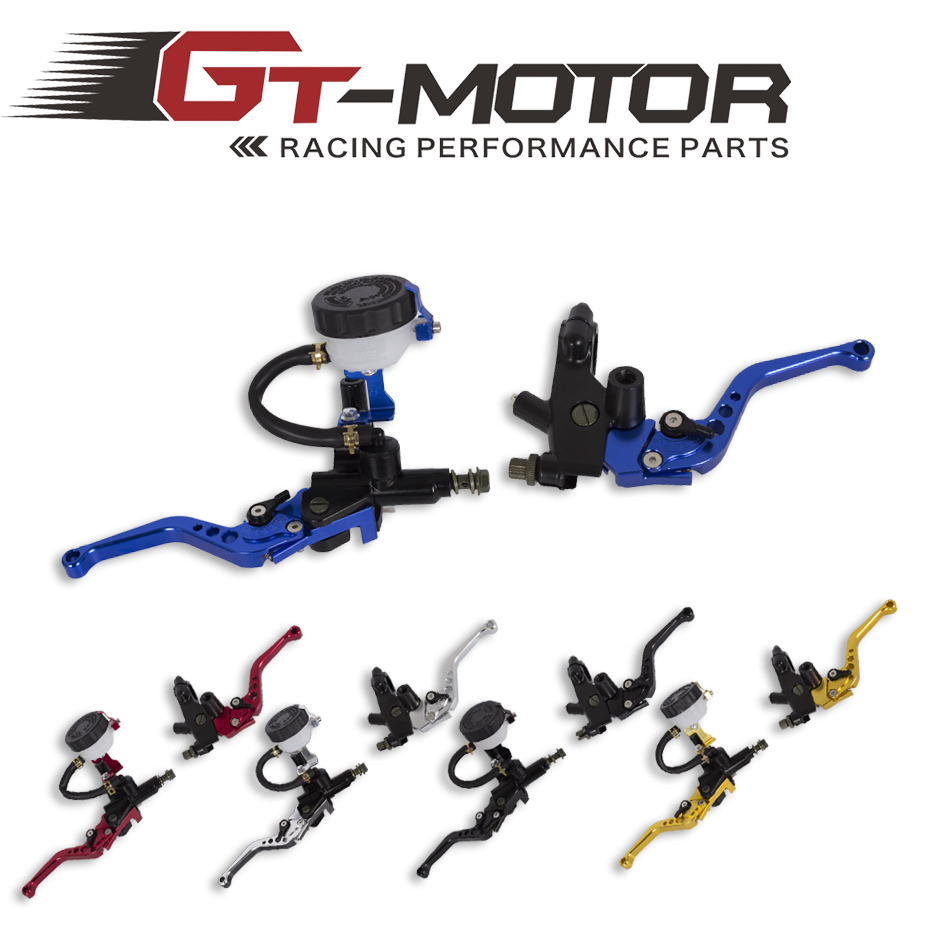 GT Motor Universal Adjustable Motorcycle Brake Clutch Levers Master Cylinder Hydraulic Reservoir Set For Honda
