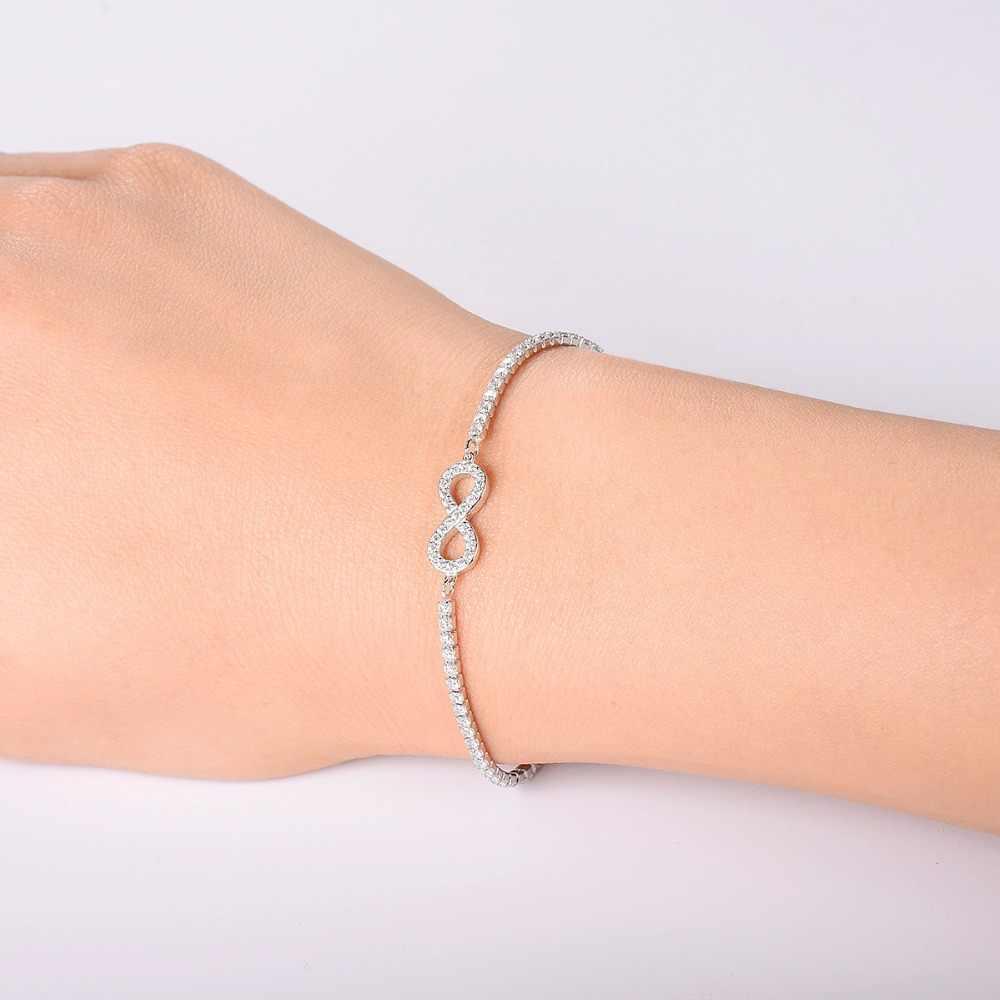 Hutang كريستال سوار المرأة قابل للتعديل الصلبة 925 فضة لانهائي لفتاة غرامة مجوهرات التصميم الكلاسيكي هدية عظيمة