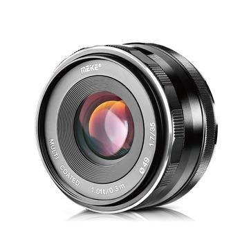 Obiektyw główny Meike 35mm F1 7 z ręcznym ustawianiem ostrości dla aparatów cyfrowych Olympus i Panasonic Micro Four Thirds MFT M4 3 tanie i dobre opinie MEKE Normalny obiektyw Stałej ogniskowej obiektywu F1 7--F22 2014 49mm 60 5mm Kamery 188g MK-F-35-1 7 Fixed Focus Panasonic Olympus