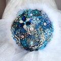 Cielo Azul y Medianoche Azul ramo de novia broche sapphire Wedding Bride's Bouquet, pluma nupcial ramos de flores broche de joyería