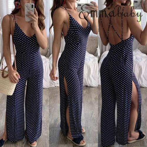 Sexy Polka Dot print Split   jumpsuits   women V neck spaghetti strap long overalls 2019 new Summer beach loose female   jumpsuit