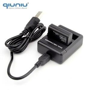 Image 3 - QIUNIU puerto de carga con doble ranura para GoPro Hero 4, cargador de dos baterías, batería de AHDBT 401 con Cable USB