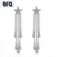 BFQ 2018 star lange tassel oorbellen voor vrouwen luxe cz zirkoon oorbellen sieraden brincos para als mulheres pendientes largos