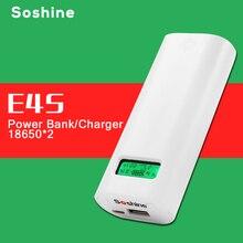 Soshine e4s подлинный оригинал 2 слот 18650 литий-ионный аккумулятор usb смарт-зарядное устройство сотового телефона power bank с жк-дисплеем