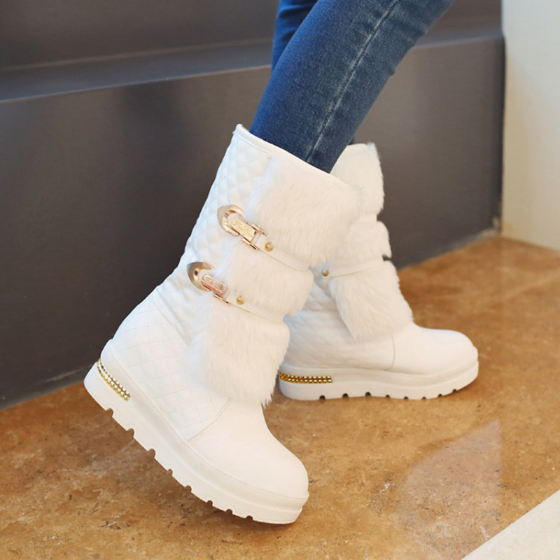 Plush Winter Boots Platform Wedges Fur Women Shoes Black White Flat Martin Boots Fashion Ladies Mid Calf Boots Plus Size 43 brand new winter quality women mid calf wedges boots fashion black red beige lady riding shoes eym02 plus big size 10 43