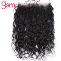 GEM BEAUTY Hair Water Wave 360 Full Lace Frontal Closure With Baby Hair Brazilian Human Hair