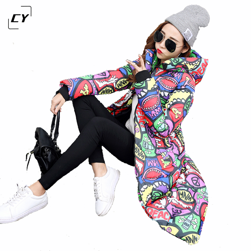 2017 Winter Coat Women Wadded Jacket Outerwear Female Long Print Letter Thickening Parkas Fashion Slim Cotton