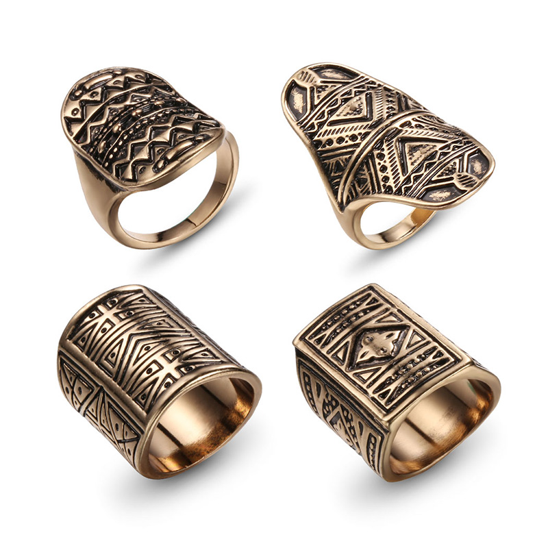 New Bohemian Brand Design Vintage Ring Set Antique Gold Silver