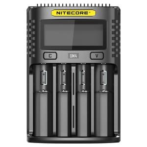 Image 2 - Nitecore UM4 USB ארבעה חריץ QC C4 VC4 LCD חכם מטען IMR INR ICR ליתיום AA 18650 14500 16340 26650 מטען 3.7 1.2V 1.5V