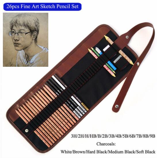 Artist Professional Charcoal Drawing Pencil with 36 Holes Canvas Roll up Pencil Ba stunning brown mixed capless shaggy curly medium synthetic wig for women