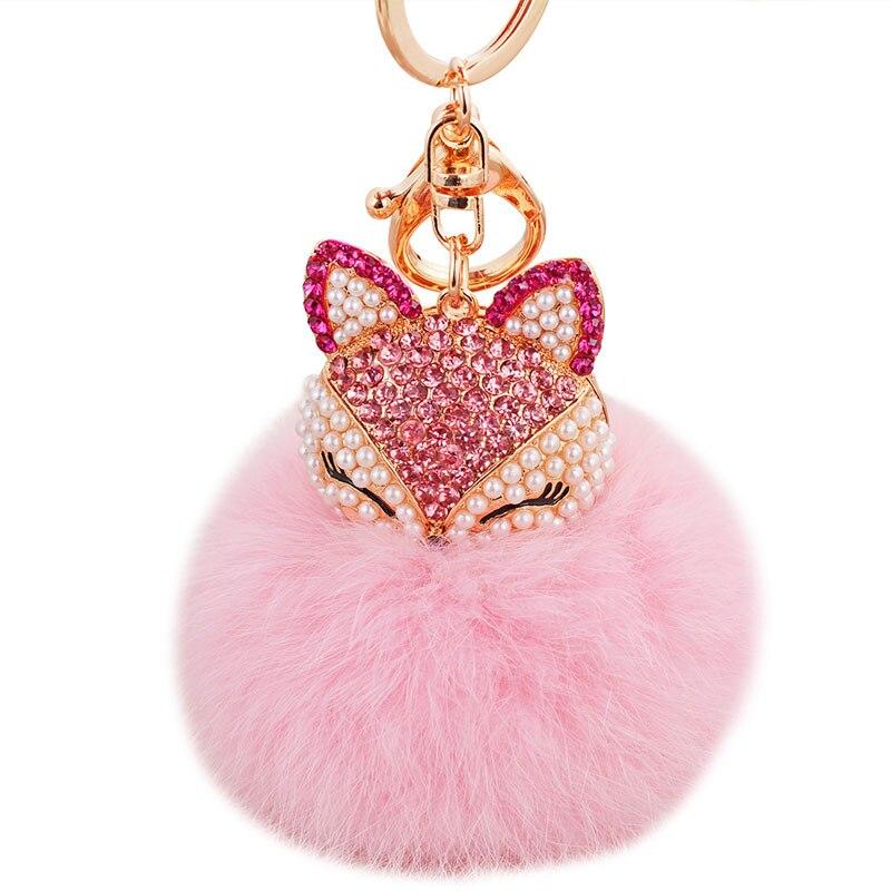 Cute Animal Fox Fur Ball Key Buckle Crystal And Pearl Keychain Match Handbag Car Key For Fashionable Women Gift 2017 Hot Selling