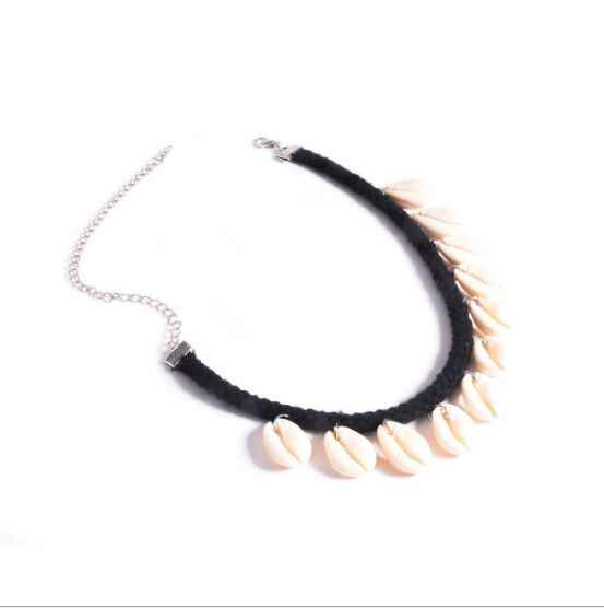 1pc 新ファッション海シェルチョーカーネックレスロープチェーンナチュラル貝殻ジュエリーシンプルな襟のネックレス 8560