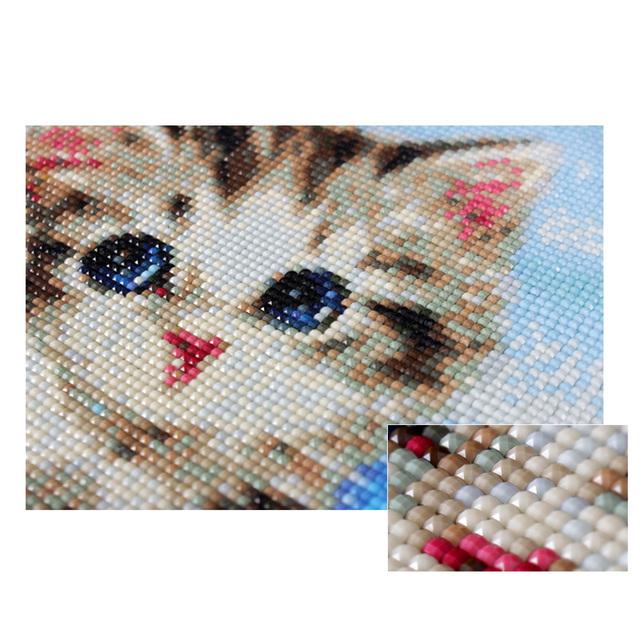 HUACAN 5D Diamond Painting Cross Stitch Diamond Embroidery Cat Full Square Rhinestones Pattern Home Decoration Needle Craft&Art