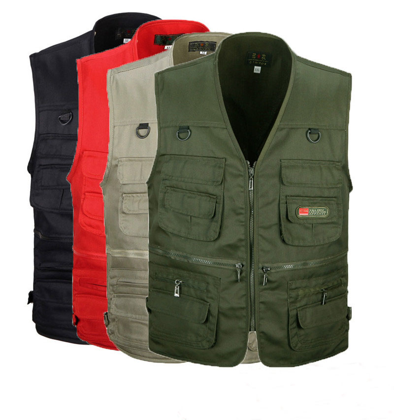 The Middle  Men's Vest V-neck Collar Photography Vest Outdoor Casual Vest Male With Many Pockets Multifunctional Fishing Vest