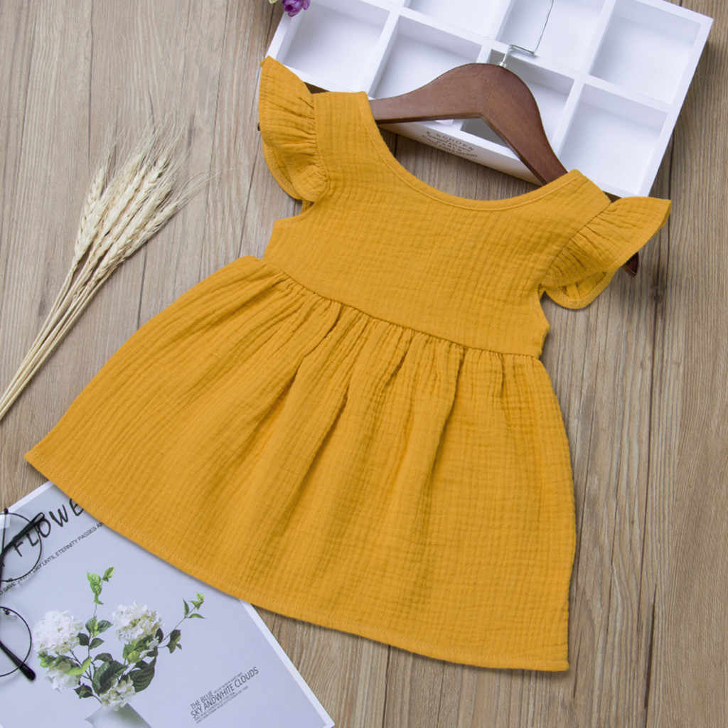 Summer Toddler Baby Girls Fly Sleeve Solid Dress Clothes Dresses