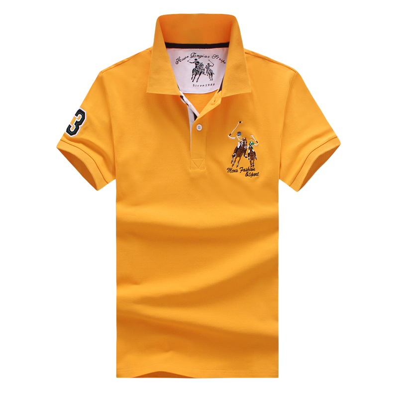 Polo   shirt men's short-sleeved solid color slim   polo   shirt men's classic fashion embroidery printing large sizepolo Shirt S-5XL