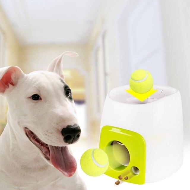 2 em 1 Interativo Brinquedos Bola De Tênis Mmachine Jogando Fetch Cão Lançador De Brinquedos Para Animais de Estimação Automática Pet Jogar Bola Dispositivo de Emissão