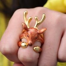Hot 3pcs/set Gold Plated Animal Deer Rings for Women