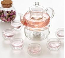 600ML heat-resistant glass tea set/kettle, tea set including 6 double-wall cups + warmer + 5 candles, glass tea pot