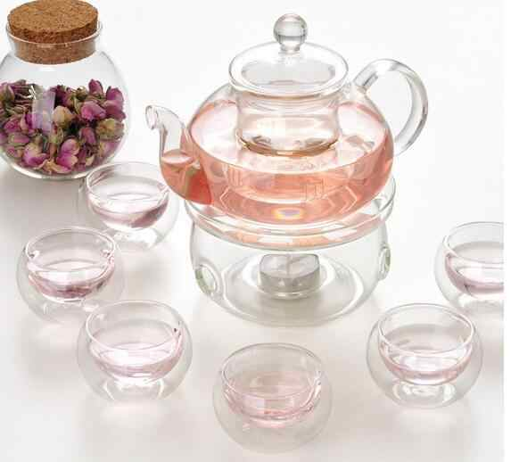 600ml Heat Resistant Glass pot Infuser Warmer Kettle 6Double Wall Cup