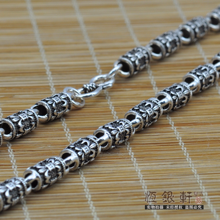 Sterling Silver Necklace Men 's Fashion Retro Thai Silver Necklace To Send Her Boyfriend Silver Jewelry Factory Wholesale s990 sterling silver fashion jewelry personalized men s retro thai silver spike mosaic agate turquoise pendant