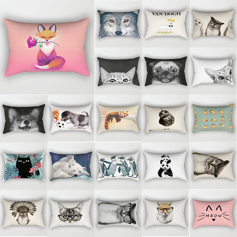 Hot sale beauty fox dog penguin cat pillow cases rectangle bedroom pillow cases people travel pillow cover 30*50 cm