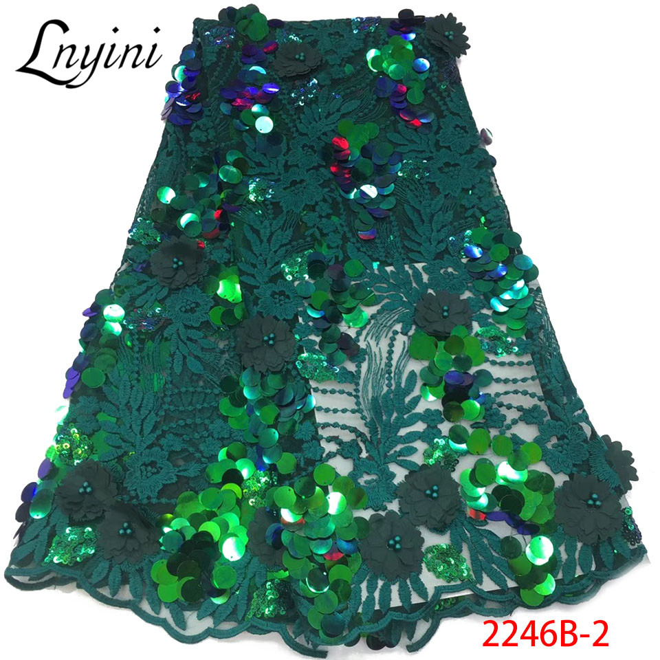 Beautiful Sequined Lace Fabric With Beads 2019 Latest Design African Tulle Lace Fabric For Nigerian Women