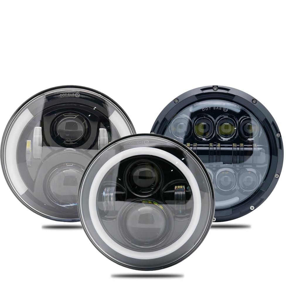 Pair Running Lights 40W 80W 75W Car Led H4 7inch Car Accessories Angel Eyes H4 Led