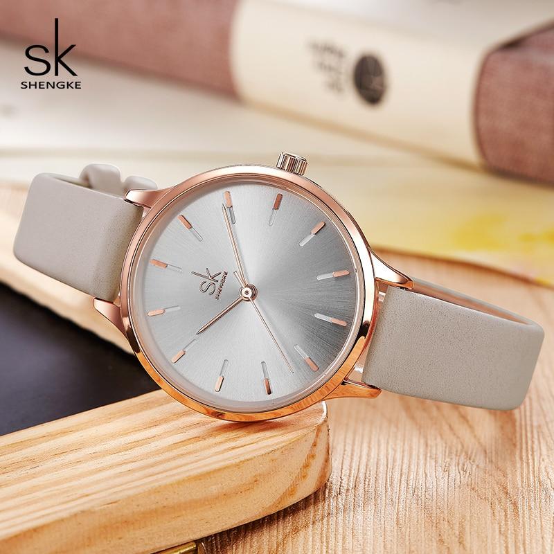 Shengke Brand Fashion Watches Women Casual Leather Strap Female Quartz Watch Reloj Mujer 2019 SK Women Wrist Watch