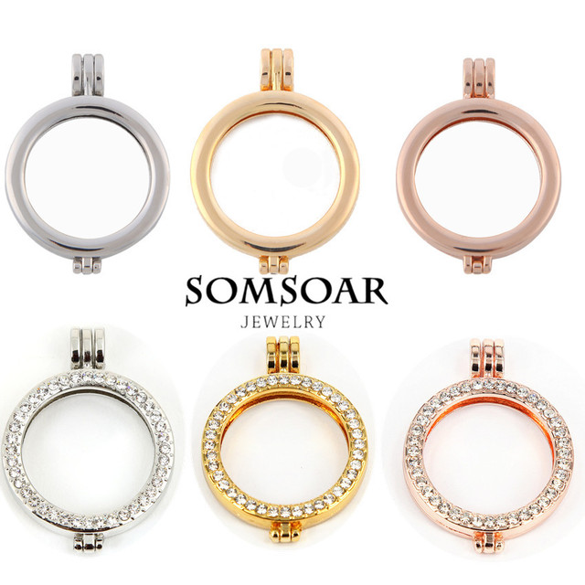 Somsoar Jewelry 35mm Plain and Crystal Mixed Alloy Coin Holder Frame ...