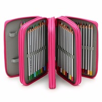 72 Slots PU Leather Pencil Case Stationery Holder Large Capacity Sketch Pen Bag 3Colors Optional