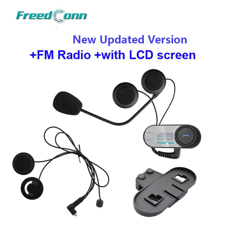 New Updated Version TCOM SC W Screen Bluetooth Helmet Intercom Headset extra Soft Earpiece extra Bracket