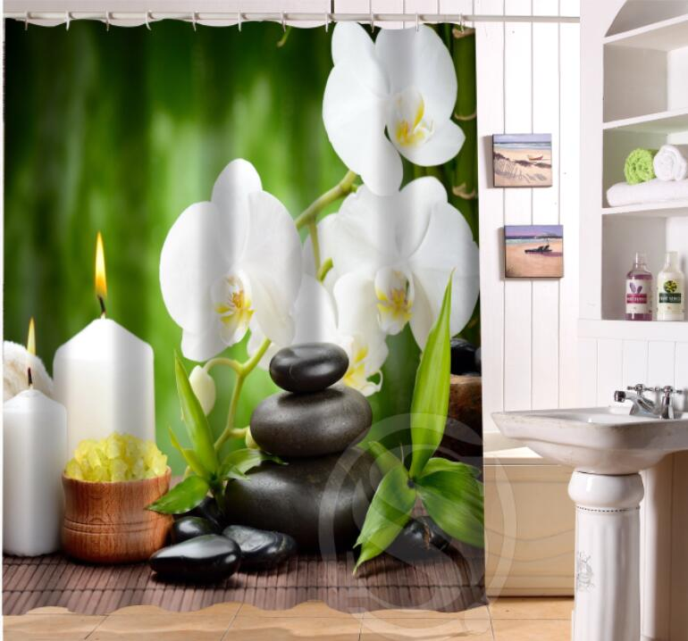 Custom Home Decor Zen stone Fabric Moden Shower Curtain bathroom Waterproof Free Shipping SQ0624