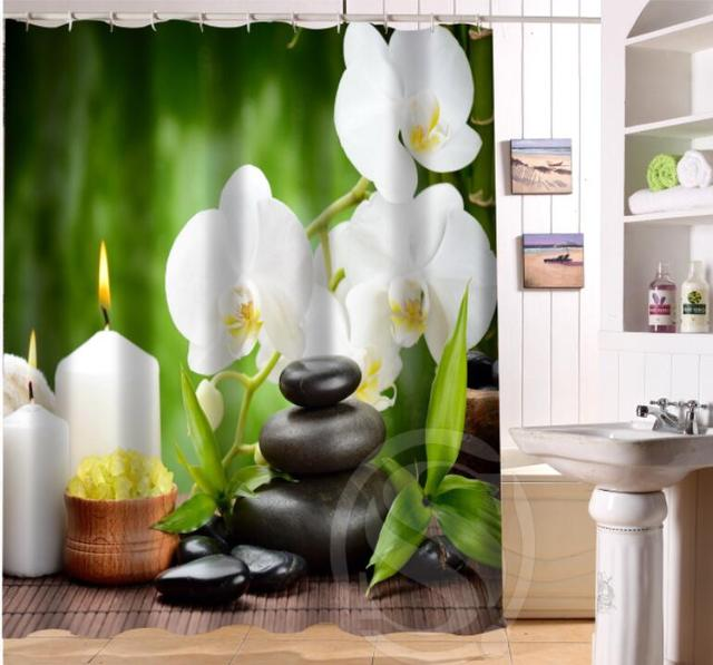 Personnalisé Home Decor Zen pierre Tissu Moden Rideau De Douche ...
